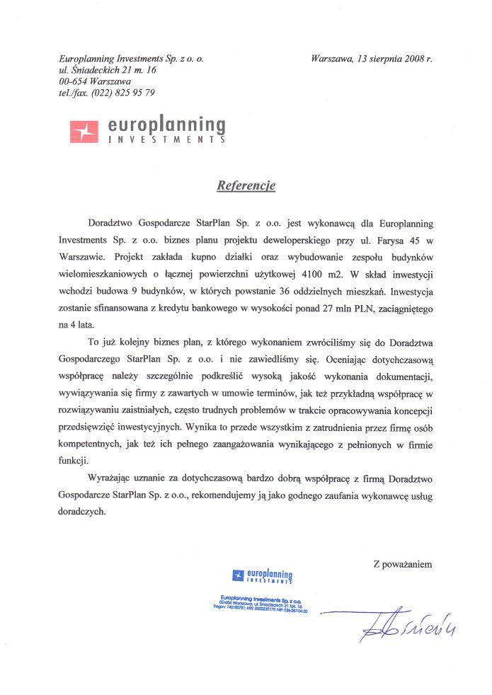 Europlanning Investments Sp. z o.o.